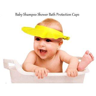CheckSums 11903 Adjustable Soft Baby Shower Cap Shampoo Visor Bath Eye Protection For Kids Infants Yellow