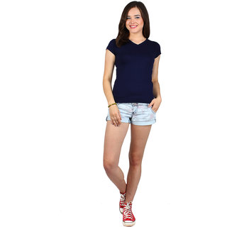 SayItLoud Half Sleeve Navy blue Colour Solid Women's Tshirt