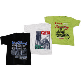 IndiWeaves Cotton T-Shirt for Boys and Girls (Pack of 3 T-Shirts)