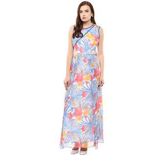 ATHENA Multicolored Printed Short Side Slit Dress