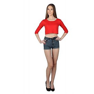 SayItLoud 3/4 Sleeve Red  Colour Solid Crop top