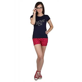 SayItLoud Half Sleeve Navy Blue Colour Women's Printed Tshirt