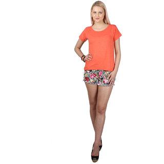 SayItLoud Half Sleeve Orange Melange Colour Women's Solid Tshirt