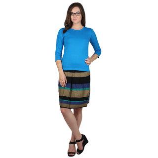 SayItLoud 3/4th sleeve Royal Blue Colour Women's Printed Tshirt