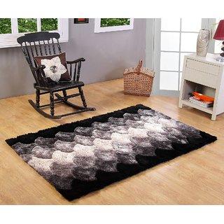 3D Polyester Shaggy Carpet - 3 feet X 5 feet, Black