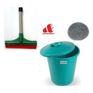 Dustbin + Kitchen Wiper + Stainless Steel Scrub