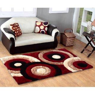 3D Polyester Shaggy Carpet - 4 feet X 6 feet, Maroon