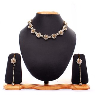 Anantika Gold Silver Necklace Set for Women ( A-100-GS)