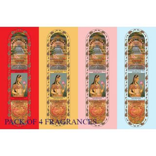 Seychelles Hand-Rolled Incense Sticks Pure Rose, Loban, Nag Champa  Sandalwood Agarbatti Multi Flavours Pack of 4 (80 S
