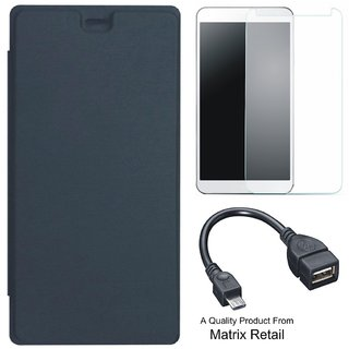 Matrix Flip Cover for Micromax Bolt Q327 with Screenguard and OTG Cable