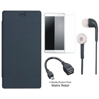 Flip Cover for Micromax Bolt Q326 with Earphones, Screenguard and OTG Cable