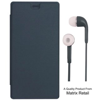 Flip Cover for Micromax Canvas Fire 4G PLUS Q412 with Earphones