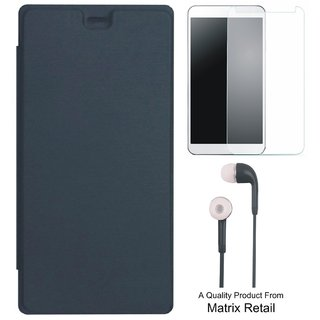 Flip Cover for cromax Amaze Q395 with s and Screenguard