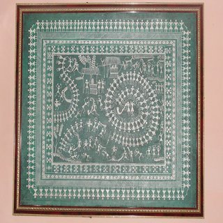 Warli Painting with Frame Size 31 x 37 Inches on Green Color