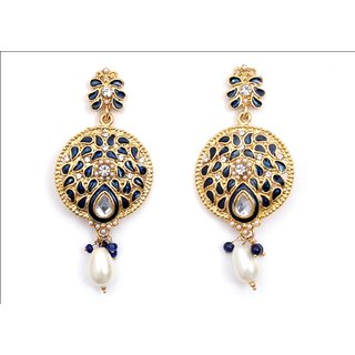 Ladies Earrings High Fashion Party Wear Ethnic Gold Polish White Crystals-BLUE
