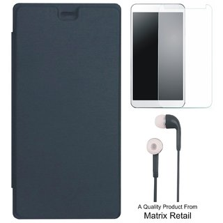 Matrix Flip Cover for Mircomax Bolt Q383 with Earphones and Tempered Glass