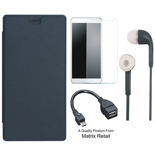 Matrix Flip Cover for Micromax Canvas Juice 4G Q461 with Earphones, Tempered Glass ad OTG Cable