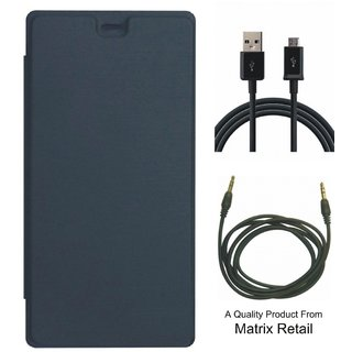 Flip Cover for Micromax Canvas Blaze 4G Q400 with USB Cable and AUX Cable
