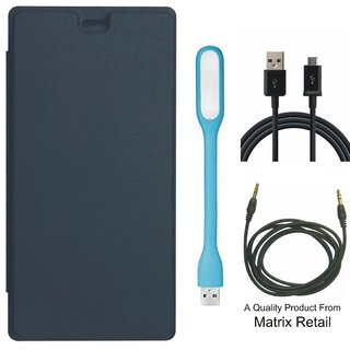 Matrix Flip Cover for Micromax Canvas Mega 4G Q417 with USB LED Light, USB Cable and AUX Cable