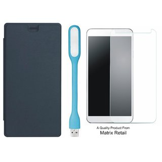 new styles 065a8 d5ca8 Flip Cover for cromax Bolt Q327 with LED Light and Tempered Glass Screen  Protector
