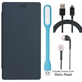 Flip Cover for Micromax Canvas Blaze 4G PLUS Q414 with Earphones, LED Light and USB Cable