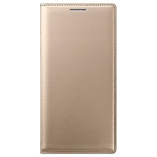 SpectraDeal Leather Flip Cover For LYF Water 7  - Golden