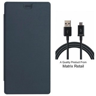 Flip Cover for Micromax Bolt Q326 with USB Data Cable