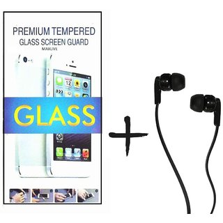TEMPERED GLASS SCREEN PROTECTOR FOR MICROMAX YUREKA  With Raag Earphone