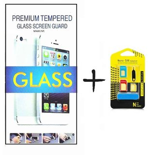 TEMPERED GLASS SCREEN PROTECTOR FOR INTEX SLICE 2  With Noosy Nono Sim Adapter