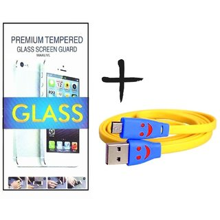 TEMPERED GLASS SCREEN PROTECTOR FOR XPERIA Z1  With USB Smiley Cable