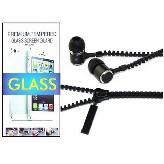 TEMPERED GLASS SCREEN PROTECTOR FOR MICROMAX E352  With Zipper Earphone