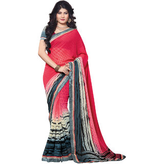 SuratTex Pink Brasso Graphic Print Saree With Blouse