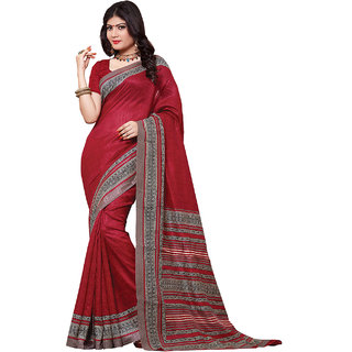SuratTex Beige Silk Floral Saree With Blouse