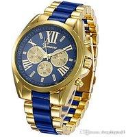 Geneva Golden Analog Blue Stainless Steel Watch - Women