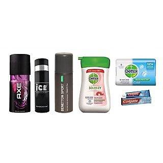 Freshness Combo Axe Deo + Ice Deo + Benetton Deo + Dettol Handwash + Dettol Soap + Colgate