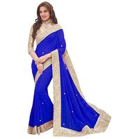 Fashionfounder Blue Georgette Lace Saree With Blouse