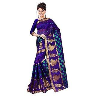 Fashion Blue Cotton Silk Saree For Women'S
