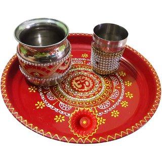 Handmade Decorated Om Pooja Thali Set For Karwachauth (Thali-26x3 cm, Diya-5x3.5 cm, Lota- 9x9 cm, Glass-8x6 cm)