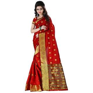 Kia Fashions haka bhagalpuri red color saree