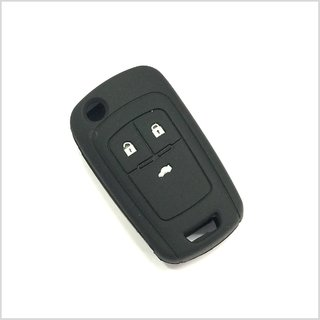 silicone Key Cover to fit Chevrolet Cruze Remote Flip Key ( Black )