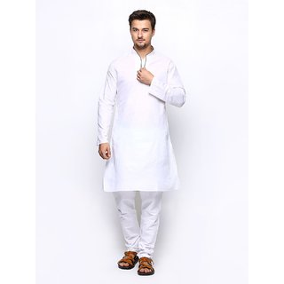 Cotton World White Unstitched Kurta Pajama