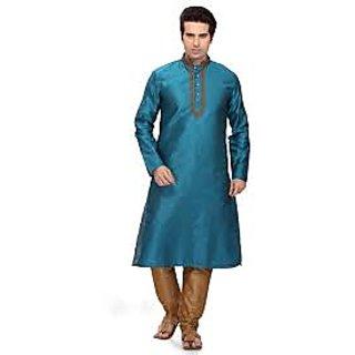 Ready Made Blue Art Silk Kurta Pajama For Men