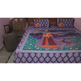 Indian beautyfull peacok with lady village bed sheet 100 Cotton printed bed sheet sanganeri print bedsheet