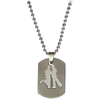 Men Style High Polished Couples Aashiqui  Love   Silver  316 L stainless Steel Lovers Pendent For Men And Women