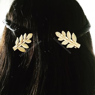Golden Leaf Metallic Hair Clip Set of Two