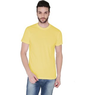 Joke Tees Solid Men's Round Neck T-Shirt Gold Yellow
