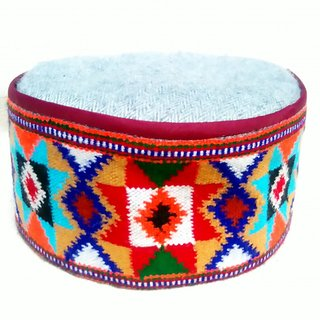 Himachali Cap (Pahari Topi) - Pure Kullu Khadi Weaving Border (Pure wool)