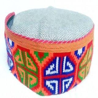 Himachali Cap (Pahari Topi) - Khadi Weaving More Panja Border