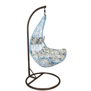 Outkraft's Rattan Hanging Chair BlueWhite Color