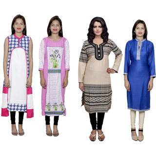 Indistar Women's Combo Pack Offer (Set of 4 Printed Stitched Kurti)